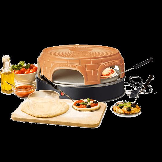 Pizzarette stone mit Terrakottakuppel und keep warm-Funktion und 6 Pizzahebern