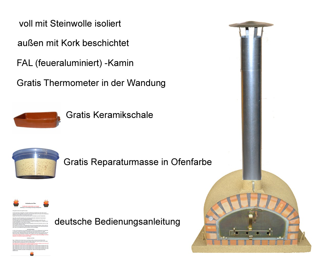 Impexfire Holzbefeuerter Pizzaofen Pizzaioli, Steinbackofen 100 creme-farben inkl Kamin... pizzaioli100creme.6