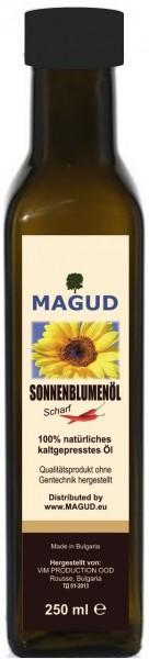 kaltgepresstes Sonnenblumenöl scharf - 250ml - magud