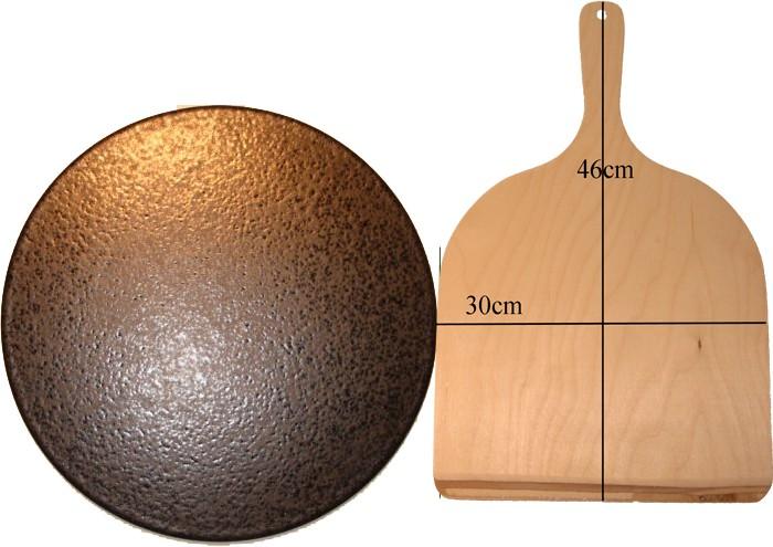 megrill Set 350x20mm Pizzastein, Brotbackstein, aus glasiertem Cordierit mit Pizzasch... P350-20-P8