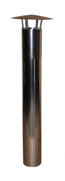 Kaminrohr 140mm aus Edelstahl mit Abdeckhaube