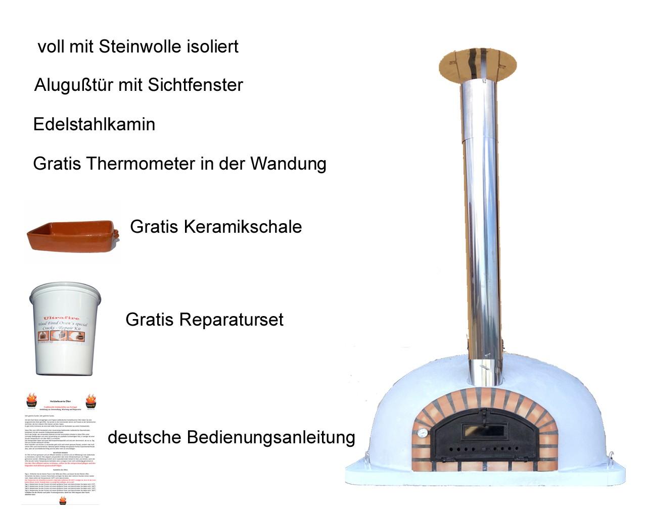 Impexfire Steinbackofen Pizzaofen Pizzaioli AL 100 inkl. Kaminrohr und Regenhut Pizzaioli100AL.1