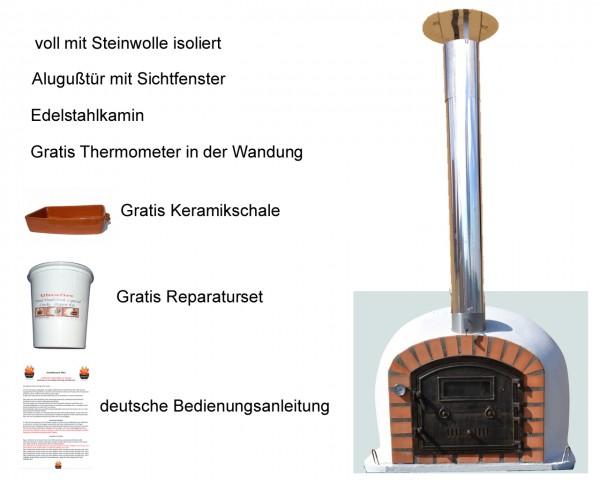 Holzbackofen Perfetto mit Edelstahlkamin
