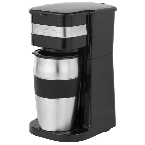Persönliche Kaffeemaschine rot oder schwarz mit Edelstahl-Tasse