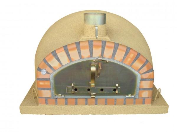 In einem traditionellen holzbefeuerten Pizzaofen können Sie fast alles backen, was Sie in einem normalen Backofen auch backen. 70Pizzen/Stunde sind mit diesem Steinbackofen möglich.