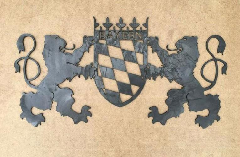 megrill Wappen aus Cortenstahl corten1