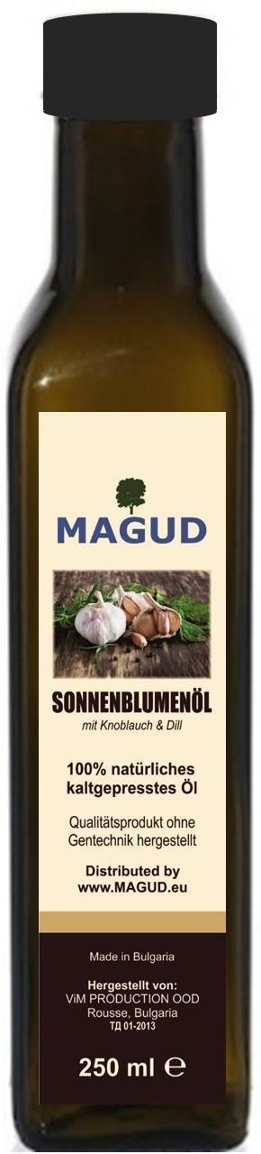magud kaltgepresstes Sonnenblumenöl mit Knoblauch und Dill 250ml magud-11215